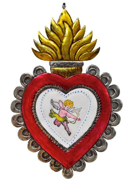cupid- monoprint on hojolata frame